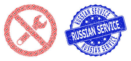 Russian Service dirty round stamp and vector recursive collage forbidden repair. Blue stamp includes Russian Service tag inside round shape. Çizim