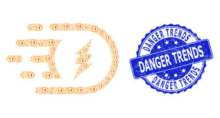 Danger Trends scratched round stamp seal and vector recursion collage electric power. Blue stamp seal includes Danger Trends title inside circle shape.