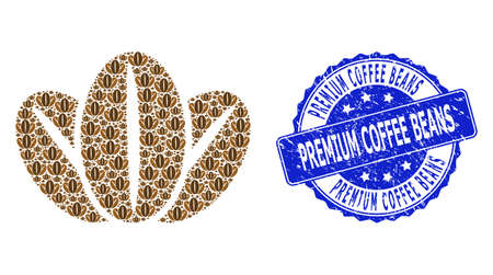 Premium Coffee Beans corroded round seal imitation and vector fractal collage coffee beans. Blue seal contains Premium Coffee Beans text inside round shape.