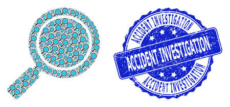 Accident Investigation rubber round seal and vector recursive collage search loupe. Blue seal has Accident Investigation tag inside round shape.