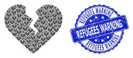 Refugees Warning rubber round stamp seal and vector fractal collage divorce heart. Blue stamp seal contains Refugees Warning title inside round shape.