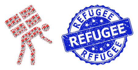 Refugee dirty round stamp and vector fractal mosaic refugee. Blue stamp contains Refugee caption inside round shape. Vector mosaic is designed from random refugee icons. Ilustrace