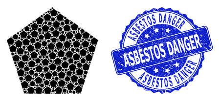 Asbestos Danger unclean round stamp and vector recursive collage filled pentagon. Blue stamp has Asbestos Danger tag inside round shape.