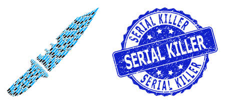 Serial Killer scratched round stamp seal and vector fractal collage knife. Blue stamp contains Serial Killer text inside round shape. Vector collage is designed of randomized knife pictograms. Ilustracja