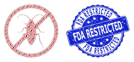 FDA Restricted textured round stamp seal and vector recursion mosaic forbidden cockroach. Blue stamp seal has FDA Restricted title inside round shape.