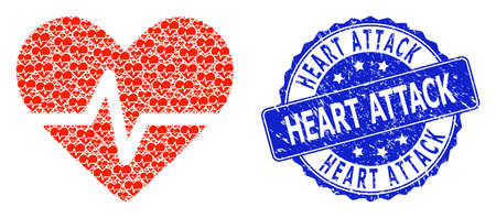 Heart Attack dirty round seal imitation and vector recursive mosaic heart pulse. Blue seal contains Heart Attack caption inside round shape.
