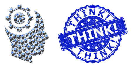 Think! corroded round seal imitation and vector recursive composition human intellect gear. Blue stamp seal contains Think! text inside round shape.