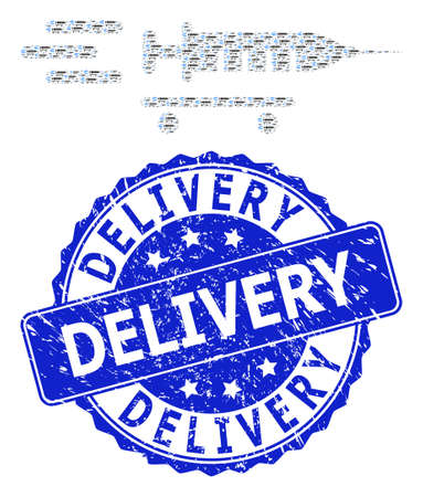 Delivery scratched round stamp seal and vector recursive composition vaccine delivery. Blue stamp seal includes Delivery title inside round shape.