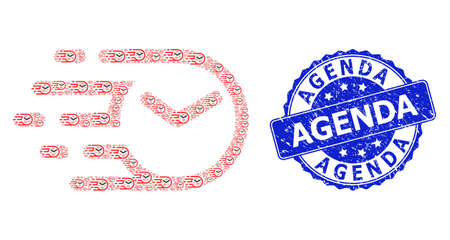 Agenda unclean round seal and vector recursive collage clock. Blue seal contains Agenda tag inside round shape. Vector collage is made from randomized clock items. 向量圖像