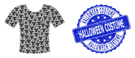 Halloween Costume unclean round stamp and vector recursive collage t-shirt. Blue stamp includes Halloween Costume tag inside round shape. Vector collage is designed of randomized t-shirt items. Illustration