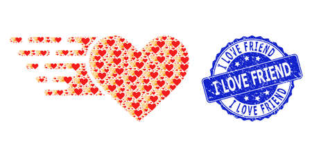 I Love Friend rubber round stamp seal and vector recursive collage love heart. Blue stamp contains I Love Friend caption inside circle shape. Vector collage is made with randomized love heart items. Ilustração