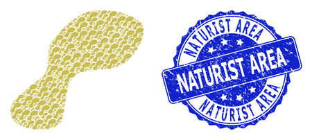 Naturist Area unclean round stamp seal and vector recursive mosaic spot. Blue seal contains Naturist Area tag inside round shape. Vector collage is designed with recursive spot icons.