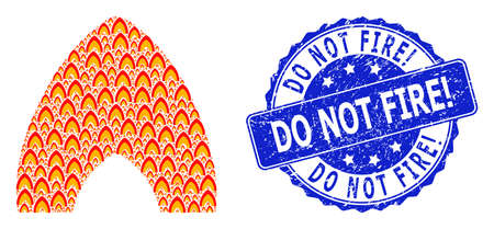 Do Not Fire! dirty round stamp seal and vector recursive mosaic fire flame. Blue stamp contains Do Not Fire! caption inside round shape. Vector mosaic is organized from randomized fire flame items.