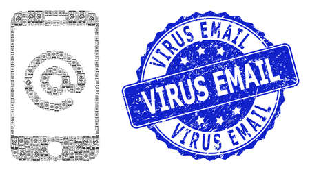 Virus Email grunge round seal and vector recursive collage smartphone address. Blue stamp seal contains Virus Email caption inside round shape.