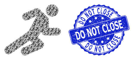 Do Not Close dirty round stamp seal and vector recursion mosaic running man. Blue stamp has Do Not Close tag inside round shape. Vector mosaic is formed of scattered running man pictograms.