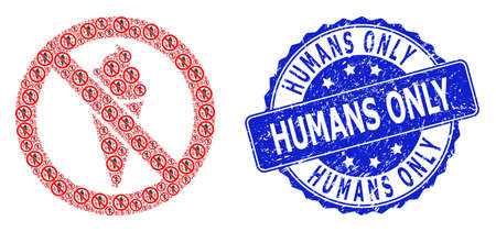 Humans Only dirty round stamp seal and vector recursion mosaic forbidden ice cream. Blue stamp has Humans Only caption inside round shape.