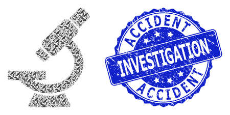 Accident Investigation dirty round stamp seal and vector recursive collage microscope. Blue stamp seal has Accident Investigation tag inside round shape.