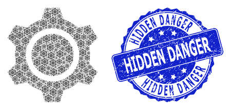 Hidden Danger corroded round stamp and vector recursion collage gear. Blue stamp seal includes Hidden Danger text inside circle shape. Vector collage is designed of recursive gear icons.