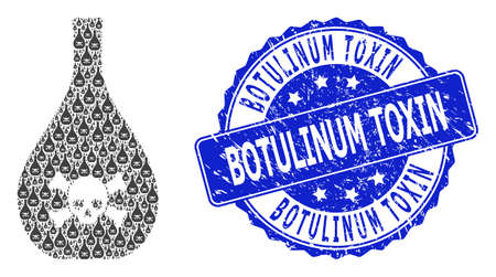 Botulinum Toxin textured round stamp seal and vector recursive mosaic poison jug. Blue stamp seal has Botulinum Toxin text inside circle shape.