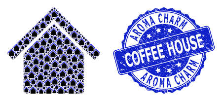 Aroma Charm Coffee House corroded round stamp seal and vector recursive composition house. Blue stamp seal includes Aroma Charm Coffee House title inside round shape. 向量圖像