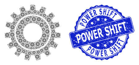 Power Shift scratched round stamp seal and vector recursive mosaic cog. Blue seal includes Power Shift text inside circle shape. Vector mosaic is formed with recursive cog icons. Stock Illustratie