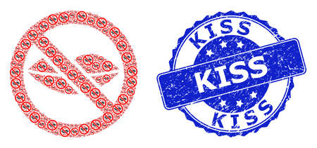 Kiss grunge round stamp seal and vector recursive mosaic forbidden kiss. Blue stamp includes Kiss tag inside round shape. Vector mosaic is made of recursive forbidden kiss pictograms.