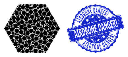 Airdrone Danger! scratched round seal imitation and vector recursive mosaic filled hexagon. Blue stamp seal contains Airdrone Danger! tag inside round shape.