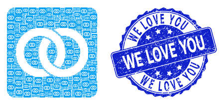 We Love You scratched round seal and vector recursion collage wedding rings. Blue seal includes We Love You text inside round shape. Vector collage is made from repeating wedding rings icons.
