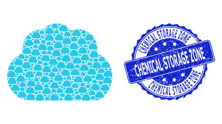 Chemical Storage Zone scratched round stamp seal and vector fractal mosaic cloud. Blue seal has Chemical Storage Zone tag inside circle shape. Vector mosaic is created from random cloud items.