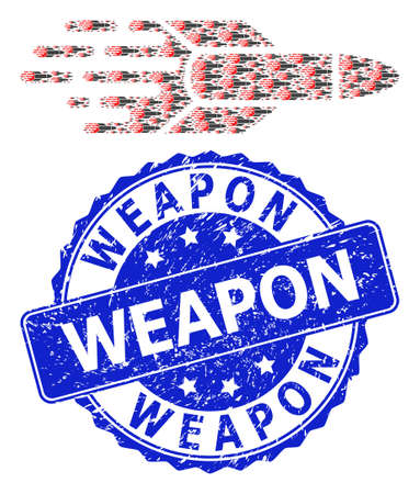 Weapon textured round seal print and vector recursive mosaic missile. Blue seal contains Weapon tag inside round shape. Vector mosaic is constructed with recursive missile icons.
