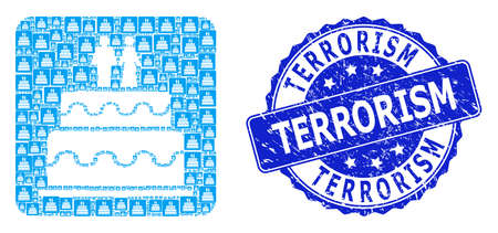 Terrorism rubber round seal imitation and vector fractal collage marriage cake. Blue seal has Terrorism text inside round shape. Vector collage is designed of repeating marriage cake items.