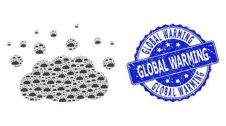 Global Warming unclean round seal imitation and vector recursive collage cloud emission. Blue stamp contains Global Warming caption inside round shape.