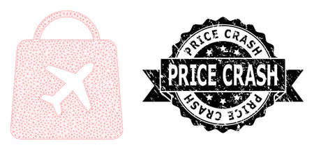Price Crash scratched stamp and vector airport shopping mesh structure. Black stamp includes Price Crash title inside ribbon and rosette. Abstract 2d mesh airport shopping, created from flat mesh. Stock fotó - 154815384