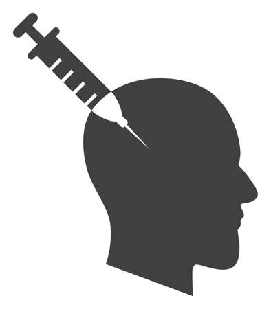 Head injection icon on a white background. Isolated head injection symbol with flat style. Stock fotó - 154828911