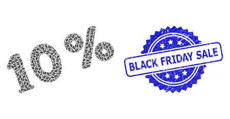 Black Friday Sale textured stamp and vector recursion mosaic 10 percents. Blue stamp seal has Black Friday Sale text inside rosette. Vector mosaic is made of scattered rotated 10 percents pictograms.