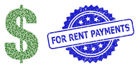 For Rent Payments grunge stamp and vector recursion collage dollar symbol. Blue stamp seal contains For Rent Payments caption inside rosette.