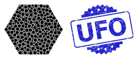 UFO corroded stamp seal and vector recursive collage filled hexagon. Blue stamp seal has UFO title inside rosette. Vector collage is designed of repeating rotated filled hexagon pictograms.