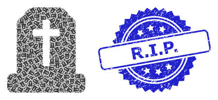 R.I.P. scratched stamp seal and vector fractal collage cemetery. Blue seal contains R.I.P. tag inside rosette. Vector collage is designed with recursive rotated cemetery icons. Ilustrace