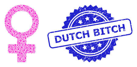 Dutch Bitch dirty seal imitation and vector fractal mosaic female symbol. Blue stamp seal contains Dutch Bitch tag inside rosette. Vector mosaic is made from randomized rotated female symbol icons.