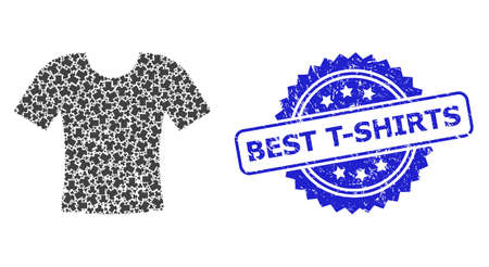 Best T-Shirts scratched stamp seal and vector recursive mosaic dirty t-shirt. Blue seal has Best T-Shirts tag inside rosette. Vector mosaic is formed with recursive rotated dirty t-shirt icons. Çizim
