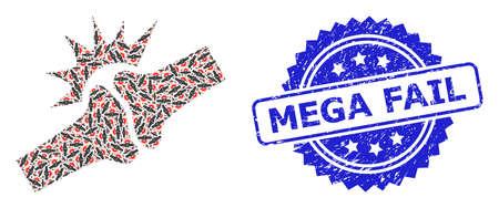 Mega Fail scratched stamp seal and vector recursive mosaic bone joint fracture. Blue stamp has Mega Fail tag inside rosette. Illustration