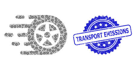 Transport Emissions rubber seal print and vector recursive collage car wheel. Blue stamp seal contains Transport Emissions caption inside rosette.