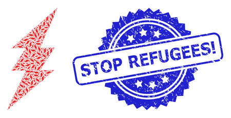 Stop Refugees! rubber seal print and vector recursive collage electric spark. Blue seal includes Stop Refugees! title inside rosette.