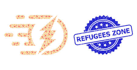 Refugees Zone rubber stamp seal and vector recursive composition electrical charge. Blue stamp seal includes Refugees Zone caption inside rosette.