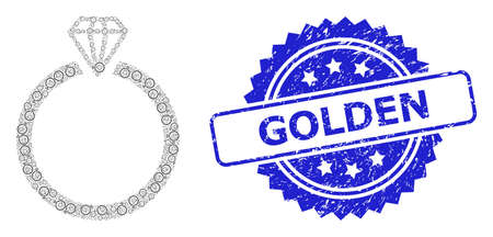 Golden dirty stamp seal and vector fractal mosaic diamond ring. Blue seal has Golden text inside rosette. Vector mosaic is formed with random rotated diamond ring icons.
