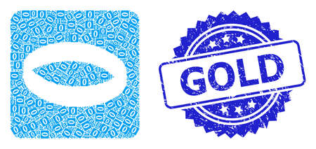 Gold rubber stamp seal and vector recursion collage gold ring. Blue stamp seal has Gold caption inside rosette. Vector collage is organized with randomized rotated gold ring pictograms.