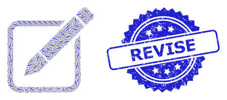 Revise unclean stamp seal and vector recursive collage edit pencil. Blue stamp seal contains Revise caption inside rosette. Vector collage is made with recursive rotated edit pencil icons. 向量圖像