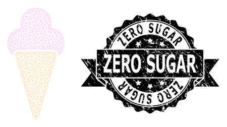 Zero Sugar corroded stamp and vector icecream mesh structure. Black stamp contains Zero Sugar tag inside ribbon and rosette. Abstract 2d mesh icecream, built from flat mesh.