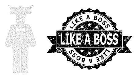Like a Boss scratched seal print and vector bull gentleman mesh structure. Black stamp seal includes Like a Boss title inside ribbon and rosette. Abstract flat mesh bull gentleman,