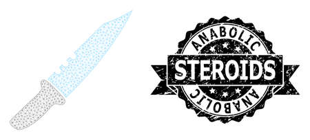 Anabolic Steroids corroded stamp seal and vector knife mesh model. Black stamp seal has Anabolic Steroids tag inside ribbon and rosette. Abstract 2d mesh knife, designed with flat mesh. Illustration